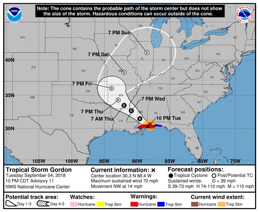 Tropical Storm Gordon Makes Landfall On The Gulf Coast Alcom - Us-hurricane-landfall-map