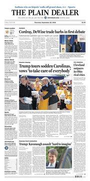 The Plain Dealer's front page for September 20, 2018