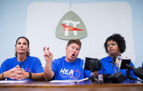 The Harrisburg teachers union and PSEA hold a news conference about a salary grievance involving teacher pay.