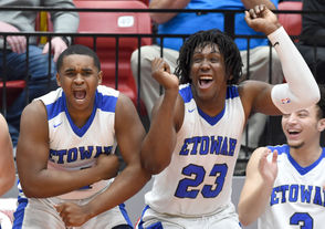 Etowah's Davian Smith (left) and Jamin Graham celebrate the victory overArab during an AHSAA Northeast Regional Class 5A semifinal game at Jacksonvillde State University in Jacksonville, Ala., Monday, Feb. 18, 2019. (Mark Almond   preps@al.com)