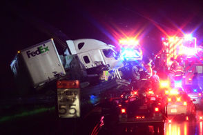 A westbound double-tractor trailer rolled Sept. 18, 2018, on Interstate 78 in Greenwich Township. Two people were hurt.
