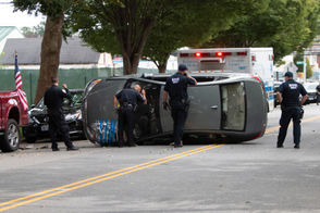 A car overturned in Dongan Hills Monday afternoon.
