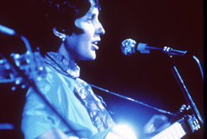 Joan Baez performs at the Woodstock Music and Arts Festival at Bethel, New York, August 1969.