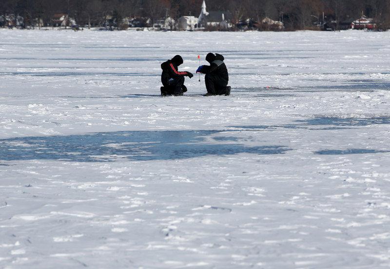 Ice fishing on Budd Lake in Mount Olive, on Sunday, 1/7/18