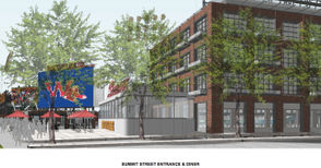 This rendering shows another angle of the diner and Summit Street entrance of the stadium.