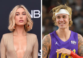 At left, Hailey Baldwin attends the 2018 Billboard Music Awards at MGM Grand Garden Arena on May 20, 2018 in Las Vegas. At right, Justin Bieber plays during the 2018 NBA All-Star Game Celebrity Game on February 16, 2018 in Los Angeles.
