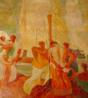 Dripping water mars historic mural in Cleveland City Council chambers