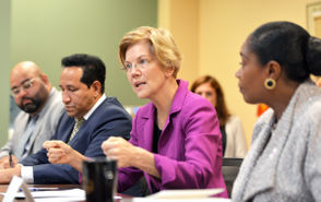 U.S. Senator Elizabeth Warren visited the Springfield Housing Authority to participate in a roundtable discussion on her new housing legislation, the American Housing and Economic Mobility Act.