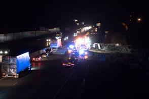 Emergency crews respond to a turned over semi-truck on I-94, Thursday, Nov. 8, 2018.