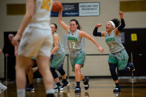 AUBURN, MI - Heritage girls basketball triumphed over Dow 49-34 at Bay City Western High School, Wednesday, March 13, 2019. They will advance in Michigan high school basketball playoffs. To purchase any of these images, please click the following link: http://s.mlive.com/AmJ9zxj