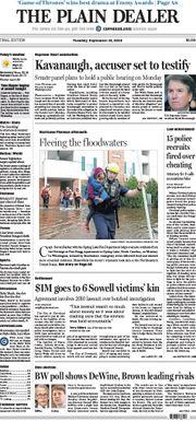 The Plain Dealer's front page for September 18, 2018