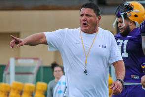 Out on the Charles McClendon practice fields, coach Ed Orgeron was taking his hands-on approach with the defensive linemen working with the pads. Check out the video below to see Orgeron at work: