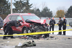 At least four vehicles were involved in the crash on East Molloy Road.
