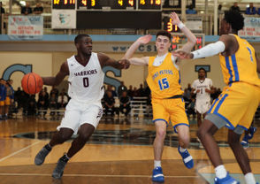Curtis Adeleye Oyekanmi (0) goes to the basket against St. Peters in the SIHSL Tournament Championship game, held at the College of Staten Island College of Staten Island Sports and Recreation Center, Willowbrook. February 15, 2019. (Staten Island Advance/Derek Alvez)