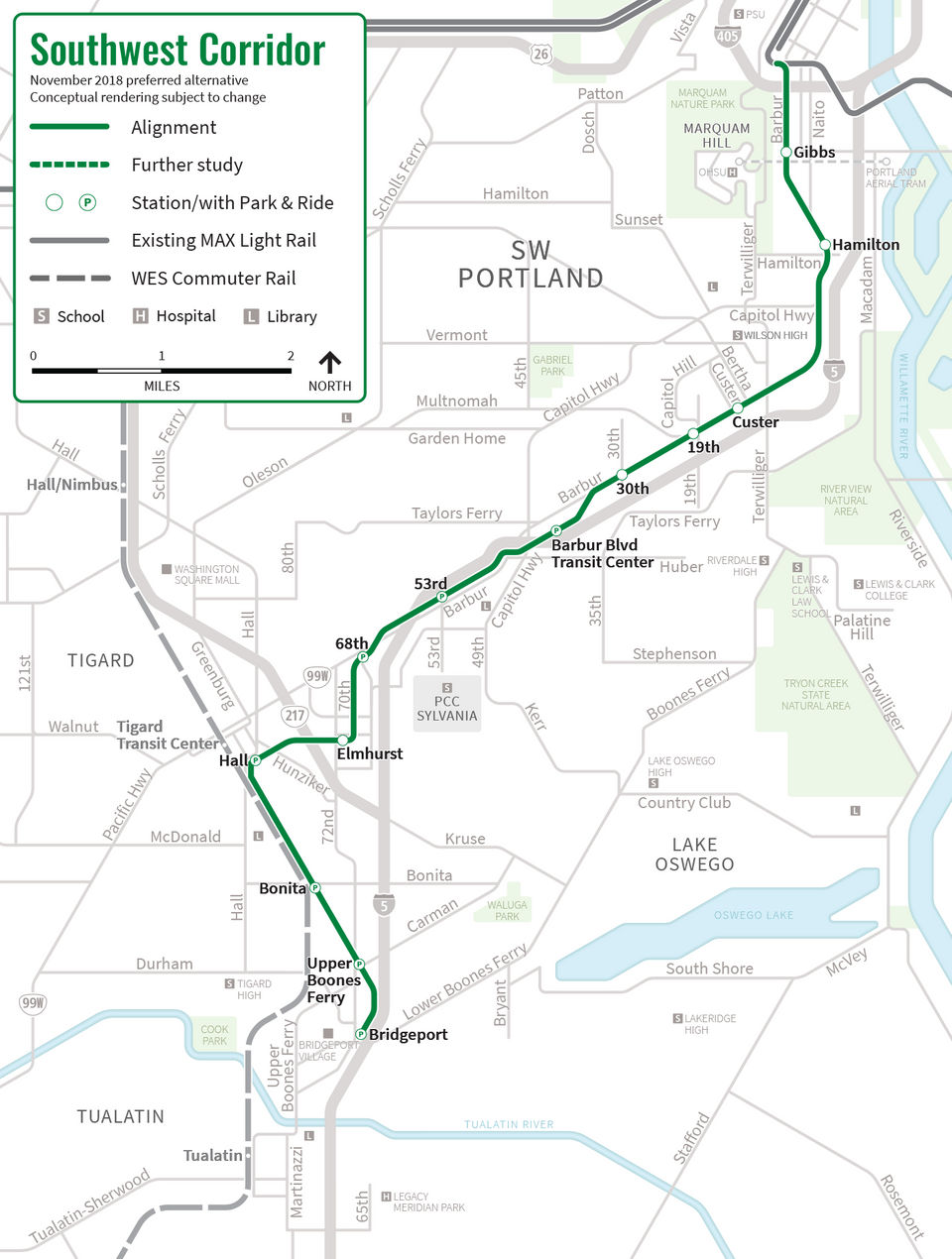 7 things to know about TriMet's proposed Southwest Portland MAX line on