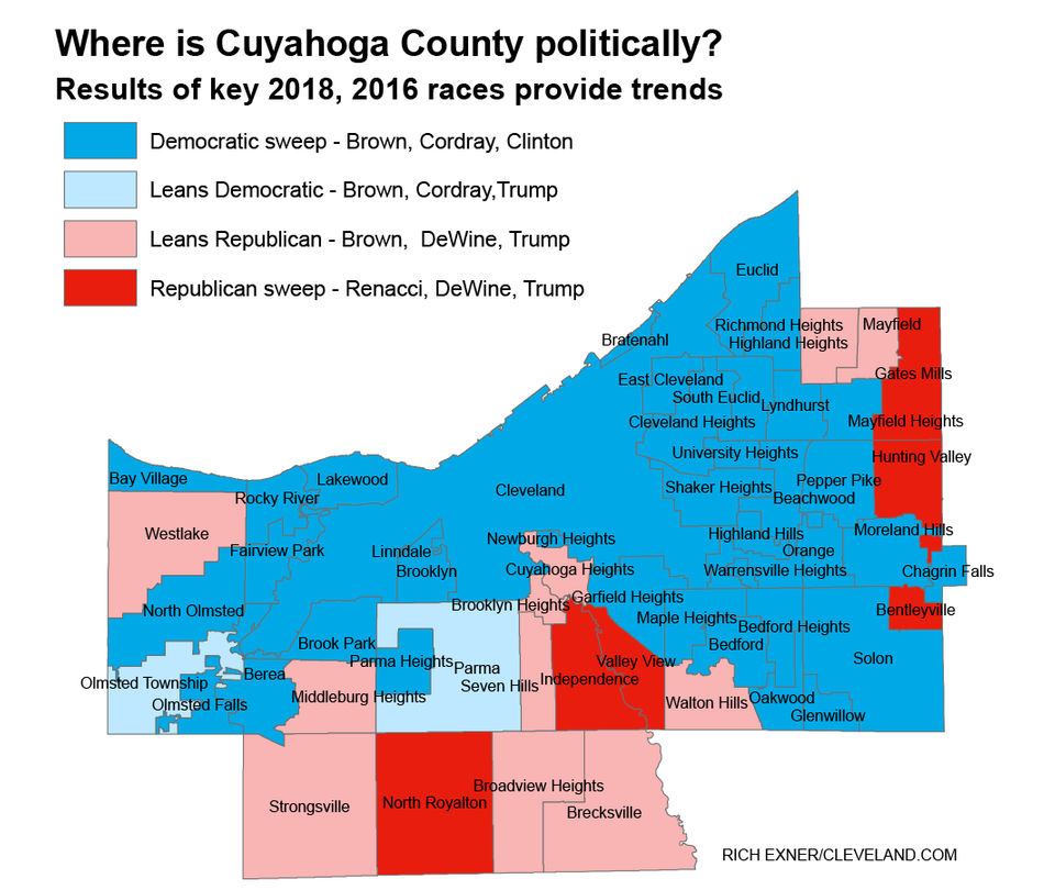 See how each Cuyahoga County town voted in the Mike DeWine, Sherrod Brown, Donald Trump races