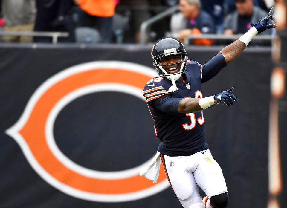 Chicago Bears free safety Eddie Jackson (39) celebrates a touchdown on a fumble recovery against the Carolina Panthers during an NFL football game at Soldier Field in Chicago, Ill. on Sunday, Oct. 22, 2017. (Rick West/Daily Herald via AP)