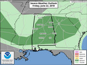 Scattered severe storms possible in Alabama tonight
