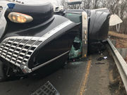 Tractor trailer crashes on Massachusetts Turnpike ramp near Worcester