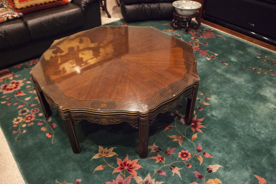 This Kindel coffee table, carved in an Oriental style, is among the Grand  Rapids made antiques that will be for sale in the Wassenaar estate sale. - Hard To Find Furniture Pieces Featured In Antique Dealer's Estate