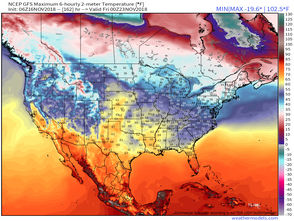 The forecast high temperature for Thanksgiving shows warmer temperatures moving into the Great Lakes region. The Northeast will still be chilly, but at least above freezing in most areas.