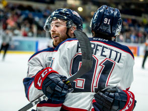 SAGINAW, MI - Cole Perfetti's taste buds must have soured all the way from Vaughan, Ontario. Because that's where he played when the Sault Ste. Marie Greyhounds dominated, crushed and humiliated the Saginaw Spirit in the 2017-18. It didn't take long for Perfetti to dislike the Greyounds. It also didn't take long for Saginaw's first-round pick to change the dynamic of the rivalry. In his first game as a Saginaw Spirit, the former University of Michigan commit scored twice to lead the Spirit to a 5-2 win over the Soo in the 2017-18 Ontario Hockey League season-opener for both teams. Saginaw season-opener photo gallery
