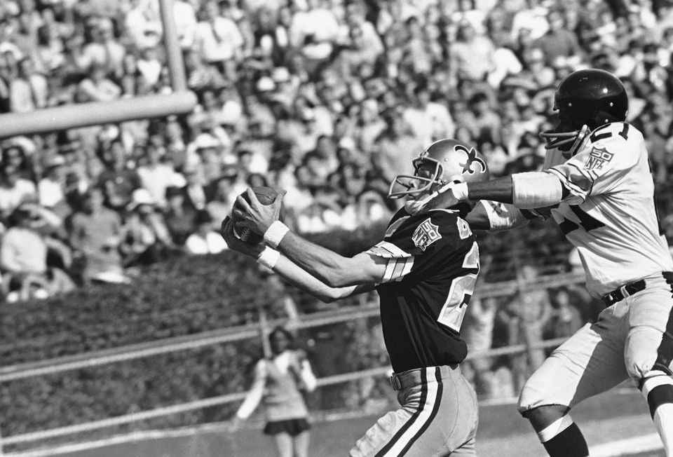 47dd40e2dde New Orleans Saints wide receiver Al Dodd reaches out to pull in a pass from  quarterback Bill Kilmer that was good for a first down on the Pittsburgh ...