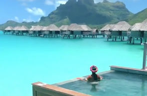 This Twitter video still shows Bora Bora in French Polynesia, despite a tweet claiming it was actually Onondaga Lake in Syracuse.