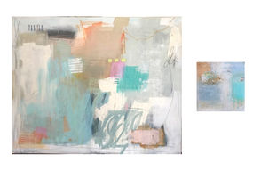 """Abstract art These pieces by local artist Holly Mabry Poole add a modern element with their abstract style. """"I always like the colors Holly uses and the way she creates motion and texture throughout each piece,"""" Carleton says. $175 for the small 12x12 and $2,400 for large 48x60, both mixed media on canvas, check Holly's Instagram account (@hollymabrypoole_art) to find available artwork, or e-mail her at hmabry1@gmail.com, hollymabryart.com. Also find her work at The French Mix, 228 Lee Lane, Covington, 985.809.3152, frenchmixinteriors.com"""