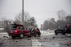 Crash at the corner of Ford Road and N Prospect Road in Superior Township, Thursday, Nov. 15, 2018.