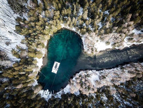 An aerial shot of Kitch-iti-Kipi, the great spring at Palms Book State Park in Manistique. Photo by Instagram user joshuajjoshua
