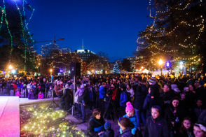 Thousands of people show up to Bronson Park to watch it all light up and enjoy family friendly activities on Friday, Nov. 24, 2017 in Kalamazoo, Mich. The park featured live reindeer, multiple huskies, ice carving, a visit from Santa Claus, and more.