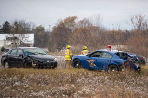 The scene of a crash involving three vehicles including a MSP car on southbound I-75, Tuesday, Nov. 13, 2018.