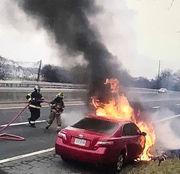 Driver found unhurt after Route 22 car fire shuts lanes near 25th Street (PHOTOS)