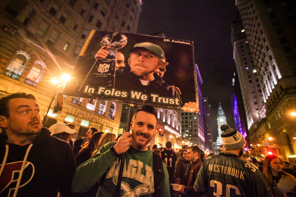 Philadelphia Eagles fans invade Broad St. to celebrate going to the Super Bowl