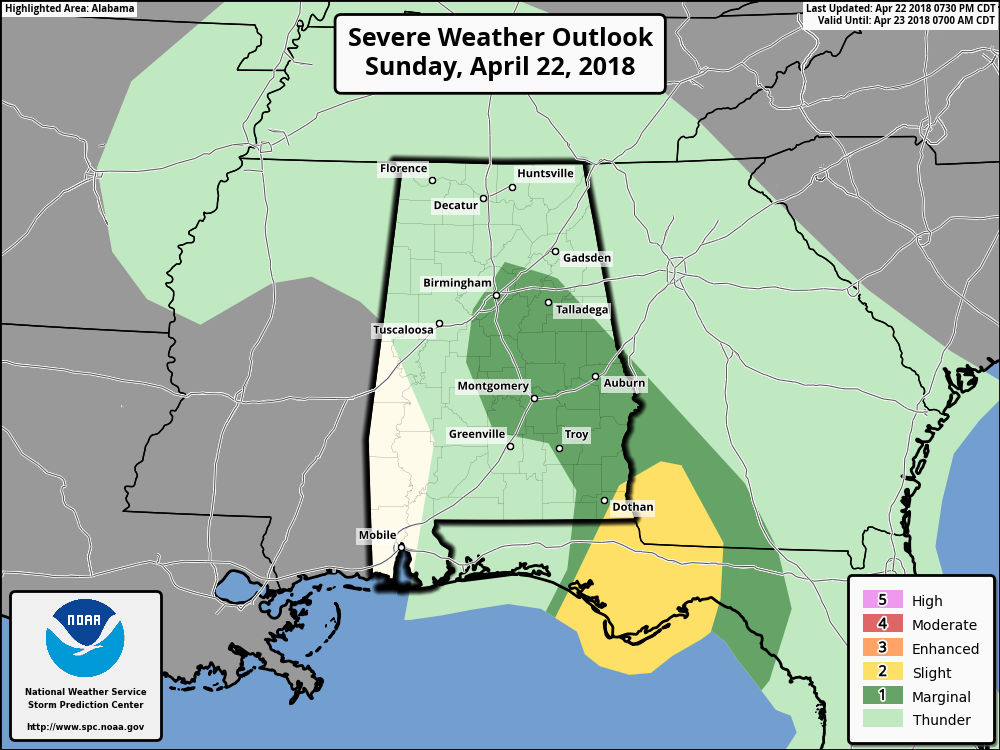 <p>NOAA's Storm Prediction Center has updated its severe weather risk area for south Alabama, and it's good news.</p> <p>Forecasters have removed most of the slight risk area from Alabama, and as of 7:30 p.m. it includes only the extreme southeastern corner of the state.</p> <p>A slight risk means scattered severe storms will be possible, and there have already been multiple warnings issued today.</p> <p>Other areas including central and eastern Alabama have a marginal risk for storms.</p> <p>A marginal risk means isolated severe storms will be possible.</p> <p>The main concern will be strong wind gusts, but a brief tornado will also be possible through tonight, according to the National Weather Service, which has gotten reports of tornadoes in the Foley and Fort Rucker areas, among others.</p>