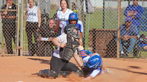 Above, Dominican catcher Gracee Reeves puts the tag on Anna Curtis of John Curtis to start a double play that ended the top of the third inning of a Catholic League game at Harahan Playground on Tuesday, March 19, 2019.  DOMINICAN 5, JOHN CURTIS 4 at Harahan Playground, Tuesday (March 19), Catholic League game Records: Dominican, 12-2 (3-0); John Curtis, 12-4 (1-2)