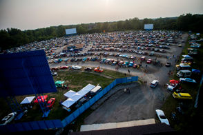 """Hundreds of car enthusiasts flock to """"Brick Flicks"""" on Tuesday, Aug. 14, 2018, a family-oriented party at US-23 Drive-In, 5200 Fenton Road in Mundy Township to kick off the 14th annual Back to the Bricks main event week. Jake May 