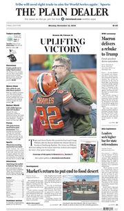 The Plain Dealer's front page for November 12, 2018