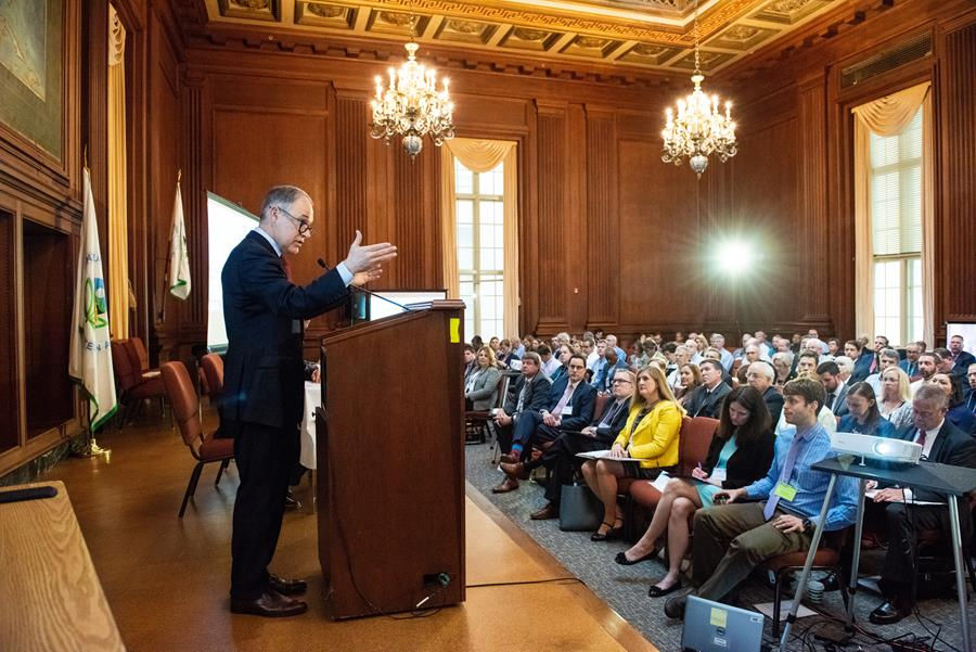 Environmental Protection Agency Administrator Scott Pruitt talks at the EPA PFAS Summit in Washington DC on Tuesday, May 22, 2018. (Courtesy | EPA)