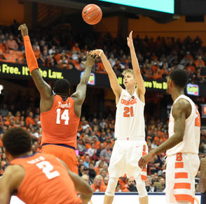 """Everyone, from Boeheim to assistant coaches to teammates, has encouraged Dolezaj to shoot the ball, Autry said. And that helps. That helps to raise Dolezaj's self-belief. With all the time Dolezaj has committed to reshaping his shooting stroke, there was some concern that other areas of his game might deteriorate. Autry said that has not happened. """"He's done a good job of staying who he is and taking advantage of how they're guarding him,"""" Autry said. Dolezaj is not R.J. Barrett. He is not a comfortable or a skilled enough shooter at this point to believe he can dominate an offense. He doesn't believe he is SU's best offensive option. But he's taking incremental steps to becoming the best player he can be. He has worked, for untold hours, on making himself a shooter. """"I feel more confident when I shoot. So much more confident,"""" he said. """"I know I can take it in a game.Coach knows I can take it in a game and that makes me so much more confident. I know I'm working every single day on my game. I know where I have to improve if I want to play another level of basketball.And that's what I'm doing. And it's fun. Basketball is fun."""""""