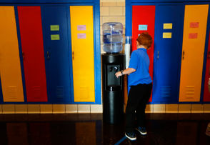 Detroit schools install water coolers as lead contamination detected.