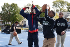Pistons unveil first of 60 renovated Detroit neighborhood basketball courts