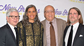 Left to right, honoree Mark Romig with Naydja and Adolph Bynum, and Romig's partner, David Briggs.