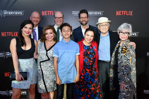 Isabella Gomez, from left, Mike Royce, Justina Machado, Stephen Tobolowsky, Marcel Ruiz, Todd Grinnell, Gloria Calderon Kellett, Norman Lear and Rita Moreno attend The Power of TV: A Conversation with Norman Lear and 'One Day at a Time' on Monday, June 19, 2017 in the Wolf Theatre at the Saban Media Center in North Hollywood, Calif.