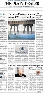 The Plain Dealer's front page for September 13, 2018
