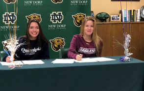 By CHARLIE De BIASE JR. Several of Staten Island's high school athletes recently made their commitments official through signing ceremonies at their respective schools. In fact, five seniors signed National Letters of Intent in various sports, including softball, lacrosse, baseball and acrobatics and tumbling. Check out where those students will be heading next fall through the following slideshow. (Above, twins Kyra and Hailey McHenry of New Dorp HS recently signed their respective National Letters of Intent. Where are they going? See below)