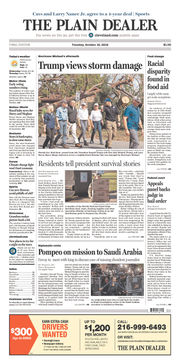 The Plain Dealer's front page for October 16, 2018