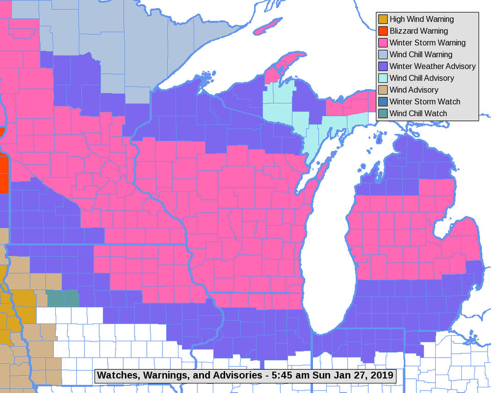 Winter storm warning now for a big strip of Lower Michigan; Detailed on