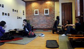 Photo: Customers drinking their teas at the Roji Tea Lounge in Syracuse.
